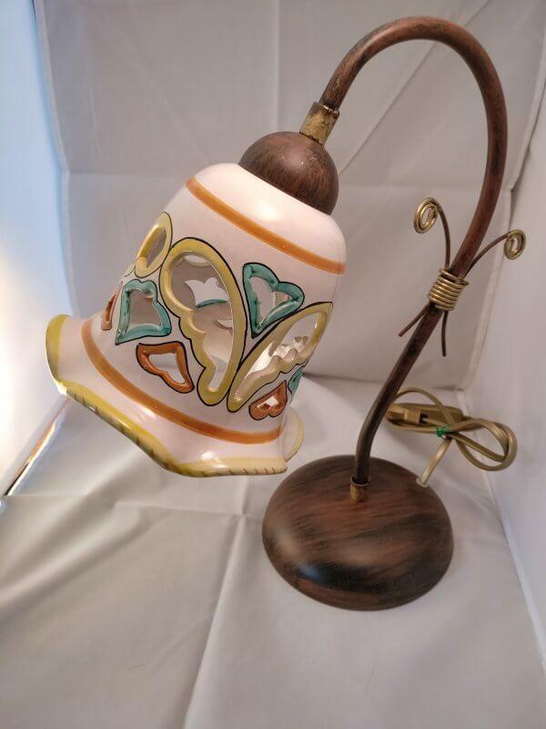 lume cn inserto in ceramica decorato a mano