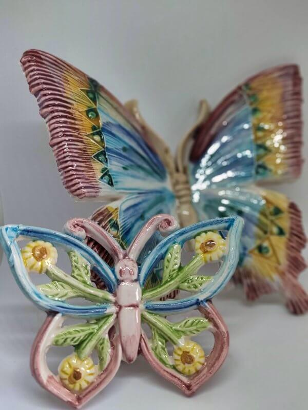 Farfalla in ceramica, ottime come bomboniere, decorata a mano
